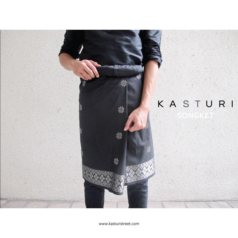 KASTURI Black Cotton Songket with Gold / Silver Thread - Kain Samping (Sampin Hitam Dewasa) Tenun Benang Emas / Perak
